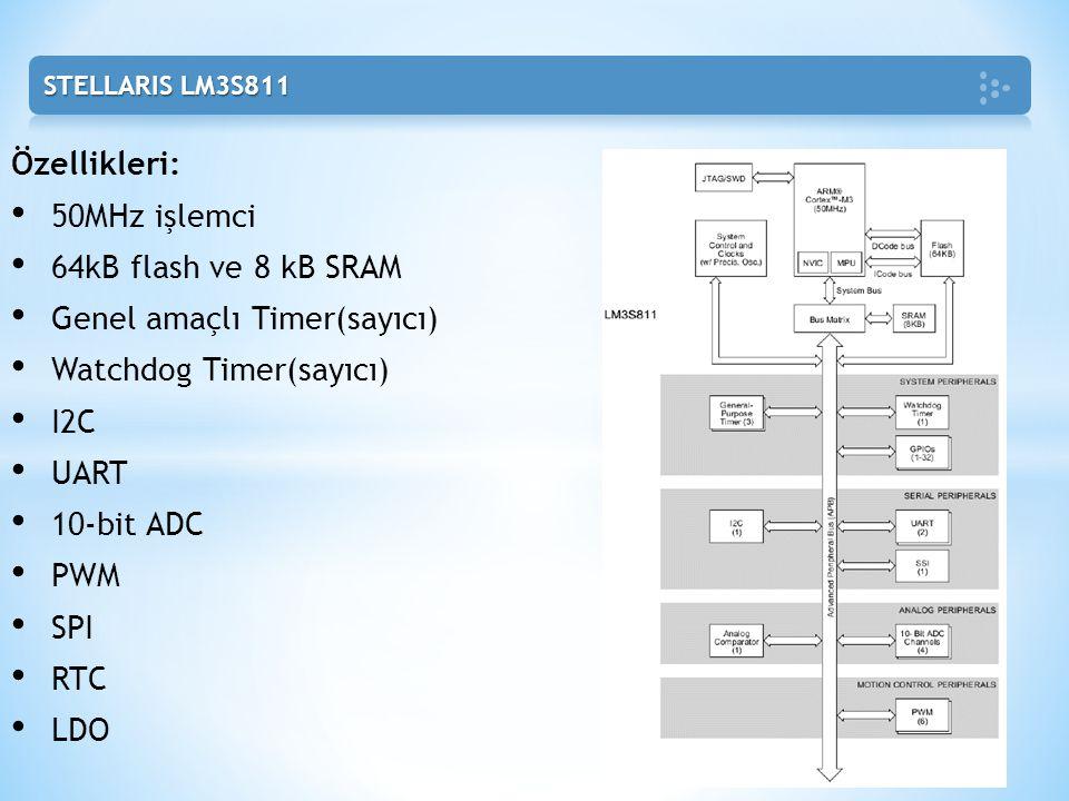 Genel amaçlı Timer(sayıcı) Watchdog Timer(sayıcı) I2C UART 10-bit ADC