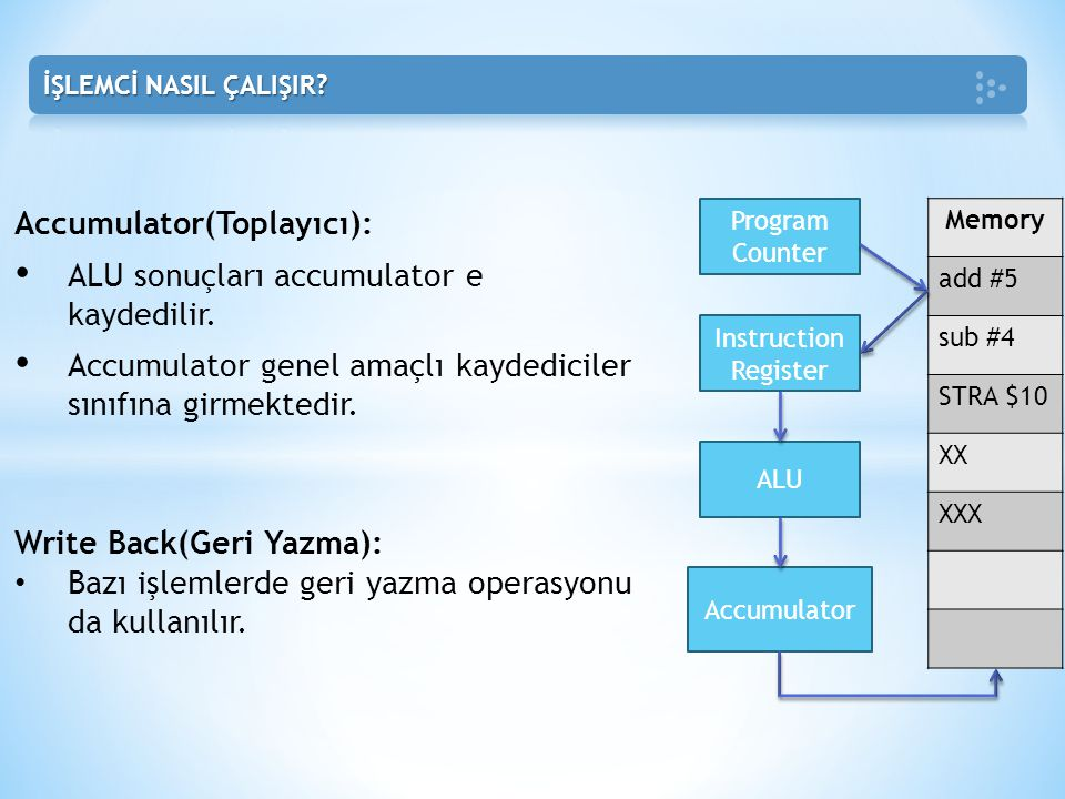 Accumulator(Toplayıcı): ALU sonuçları accumulator e kaydedilir.