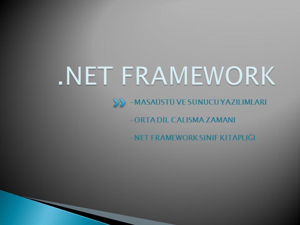 .NET FRAMEWORK -MASAÜSTÜ VE SUNUCU YAZILIMLARI