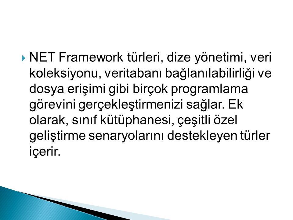 NET Framework türleri, dize yönetimi, veri koleksiyonu, veritabanı bağlanılabilirliği ve dosya erişimi gibi birçok programlama görevini gerçekleştirmenizi sağlar.