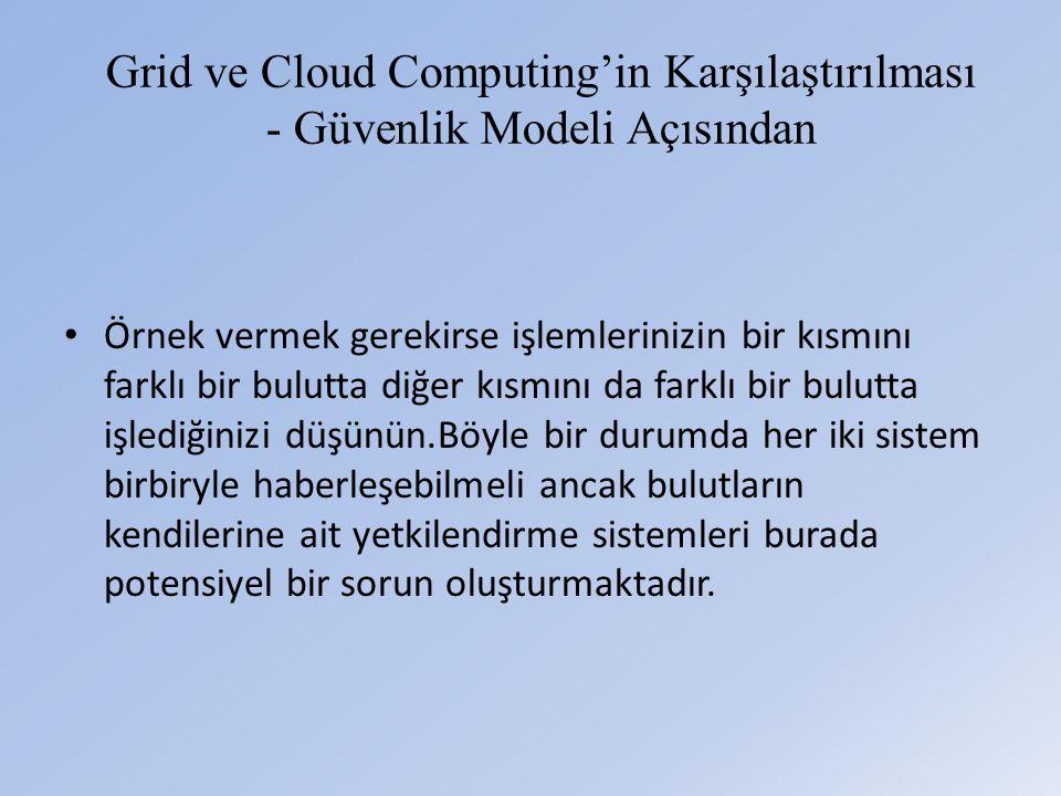 Grid ve Cloud Computing'in Karşılaştırılması - Güvenlik Modeli Açısından