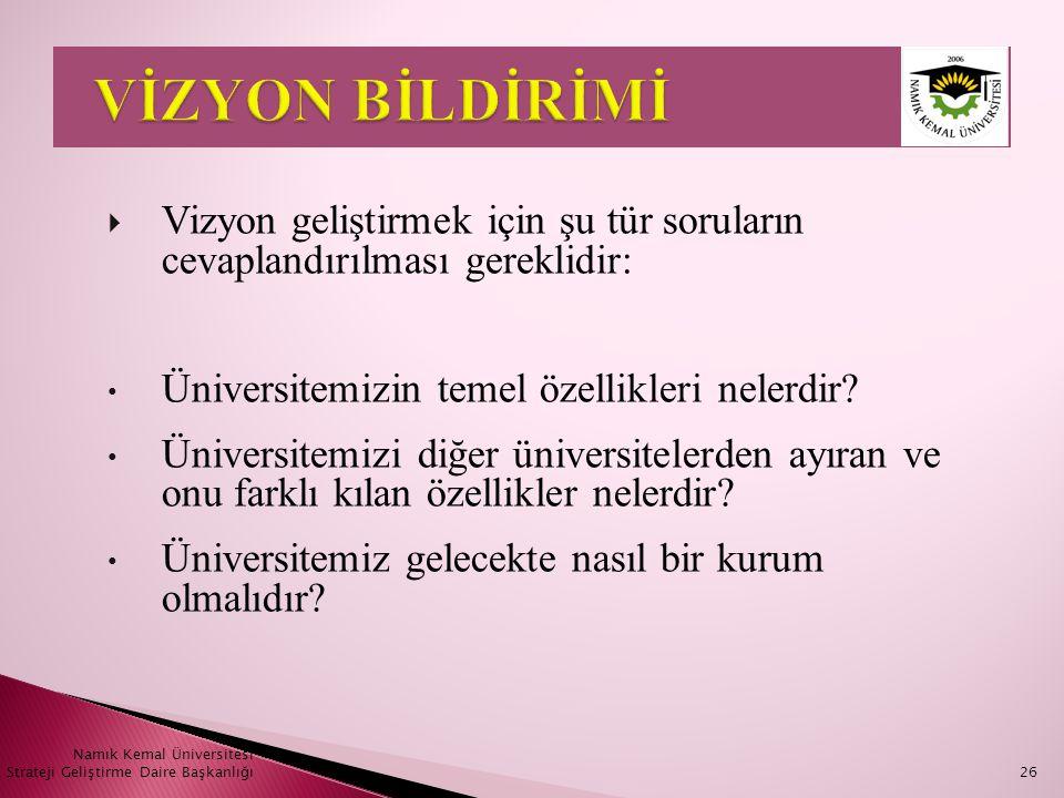 VİZYON BİLDİRİMİ Vizyon geliştirmek için şu tür soruların cevaplandırılması gereklidir: Üniversitemizin temel özellikleri nelerdir