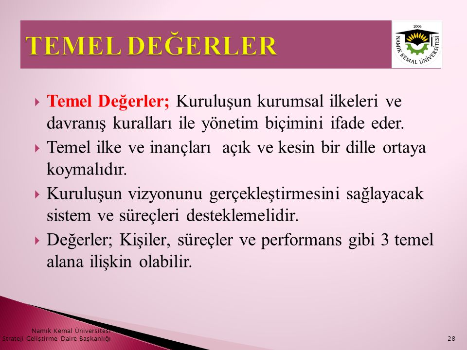 TEMEL DEĞERLER Temel Değerler; Kuruluşun kurumsal ilkeleri ve davranış kuralları ile yönetim biçimini ifade eder.
