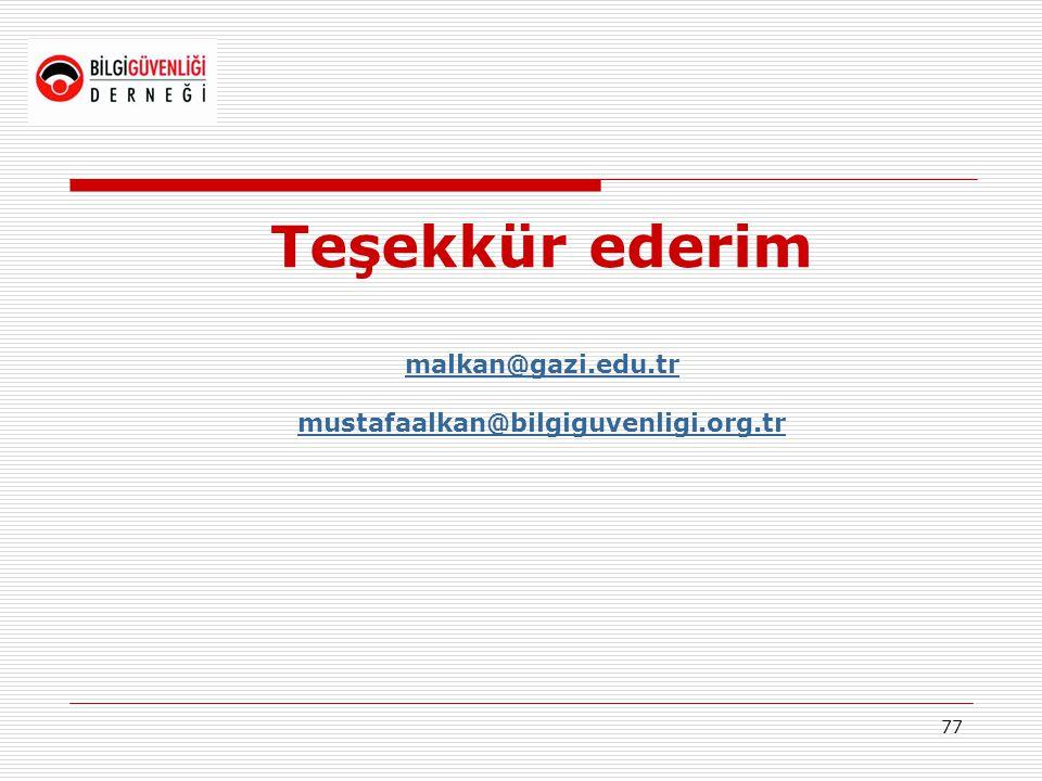 Teşekkür ederim malkan@gazi.edu.tr mustafaalkan@bilgiguvenligi.org.tr