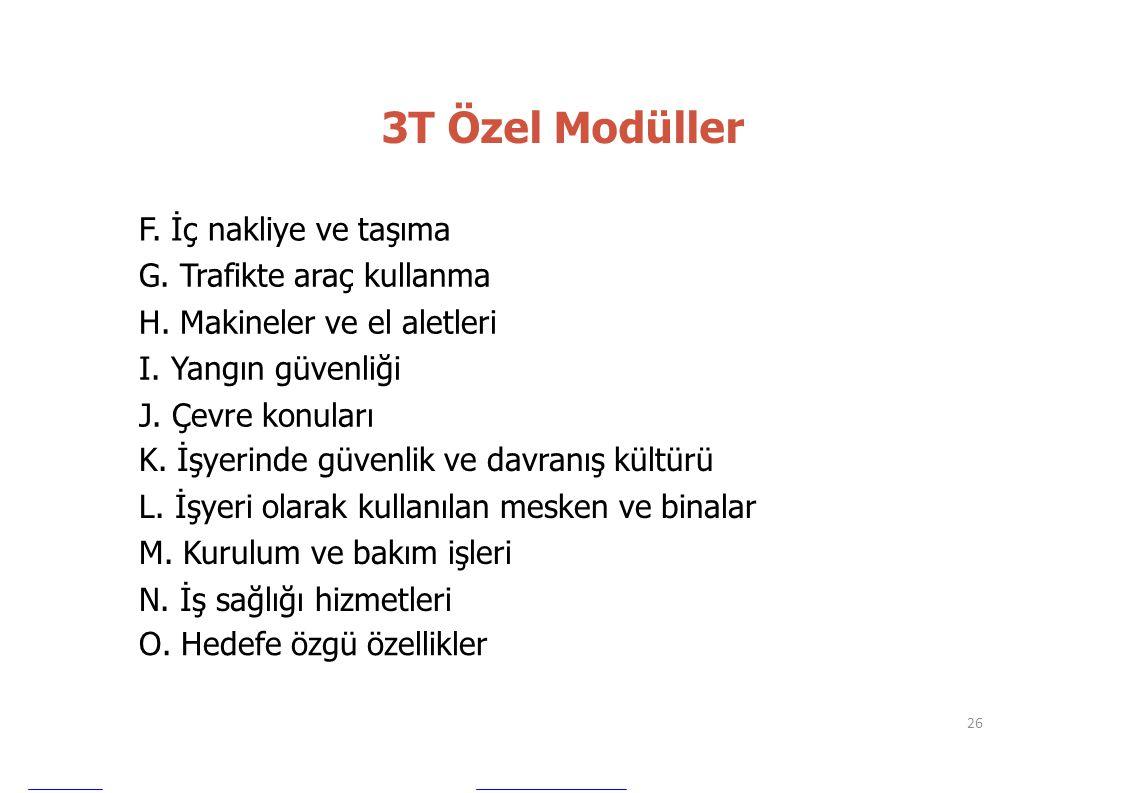 3T Özel Modüller F. İç nakliye ve taşıma G. Trafikte araç kullanma