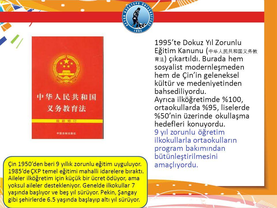 1995'te Dokuz Yıl Zorunlu Eğitim Kanunu (中华人民共和国义务教育法) çıkartıldı