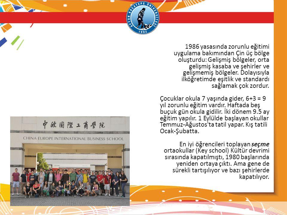 1986 yasasında zorunlu eğitimi uygulama bakımından Çin üç bölge oluşturdu: Gelişmiş bölgeler, orta gelişmiş kasaba ve şehirler ve gelişmemiş bölgeler. Dolayısıyla ilköğretimde eşitlik ve standardı sağlamak çok zordur.
