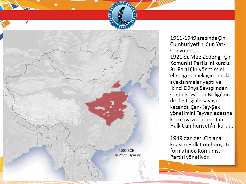 1911-1949 arasında Çin Cumhuriyeti ni Sun Yat-sen yönetti.