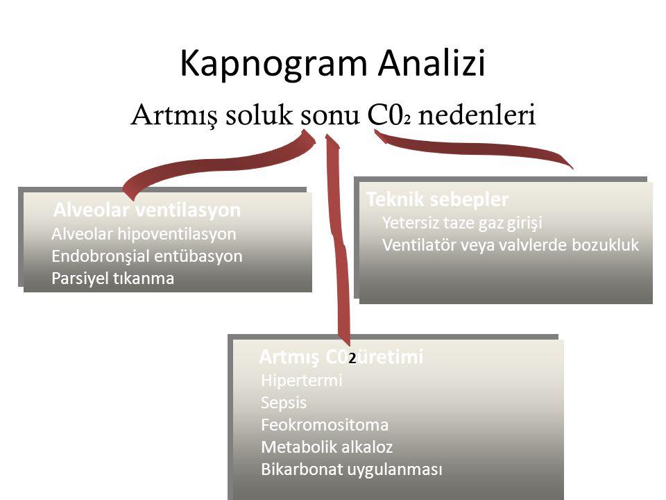Kapnogram Analizi Artmış soluk sonu C02 nedenleri Teknik sebepler