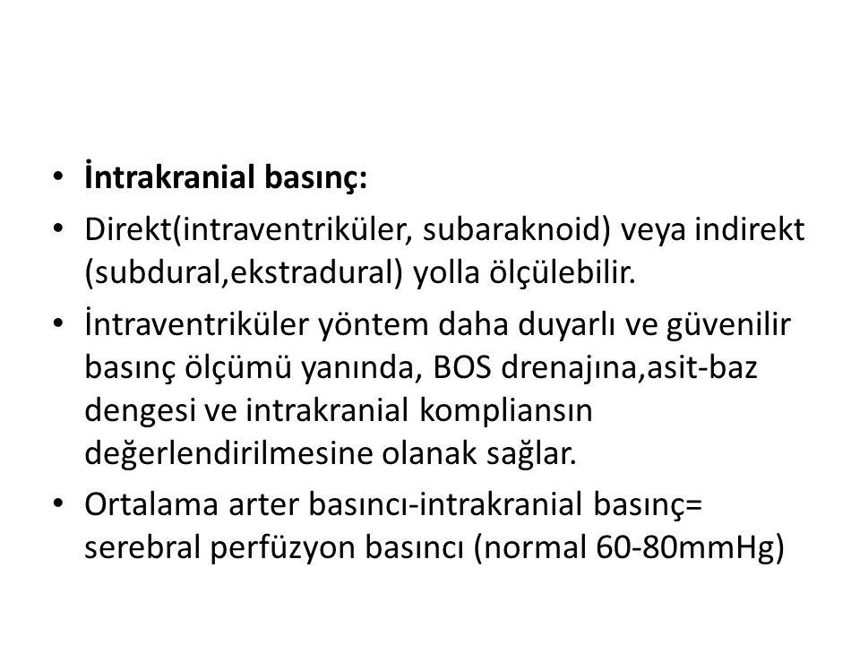 İntrakranial basınç: Direkt(intraventriküler, subaraknoid) veya indirekt (subdural,ekstradural) yolla ölçülebilir.