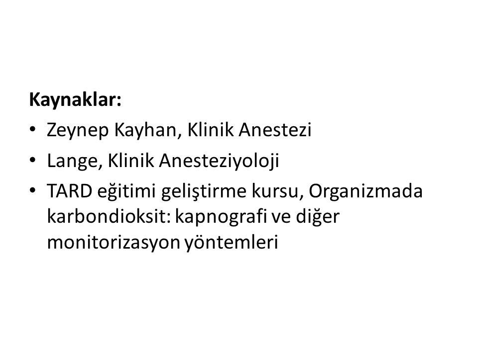 Kaynaklar: Zeynep Kayhan, Klinik Anestezi. Lange, Klinik Anesteziyoloji.