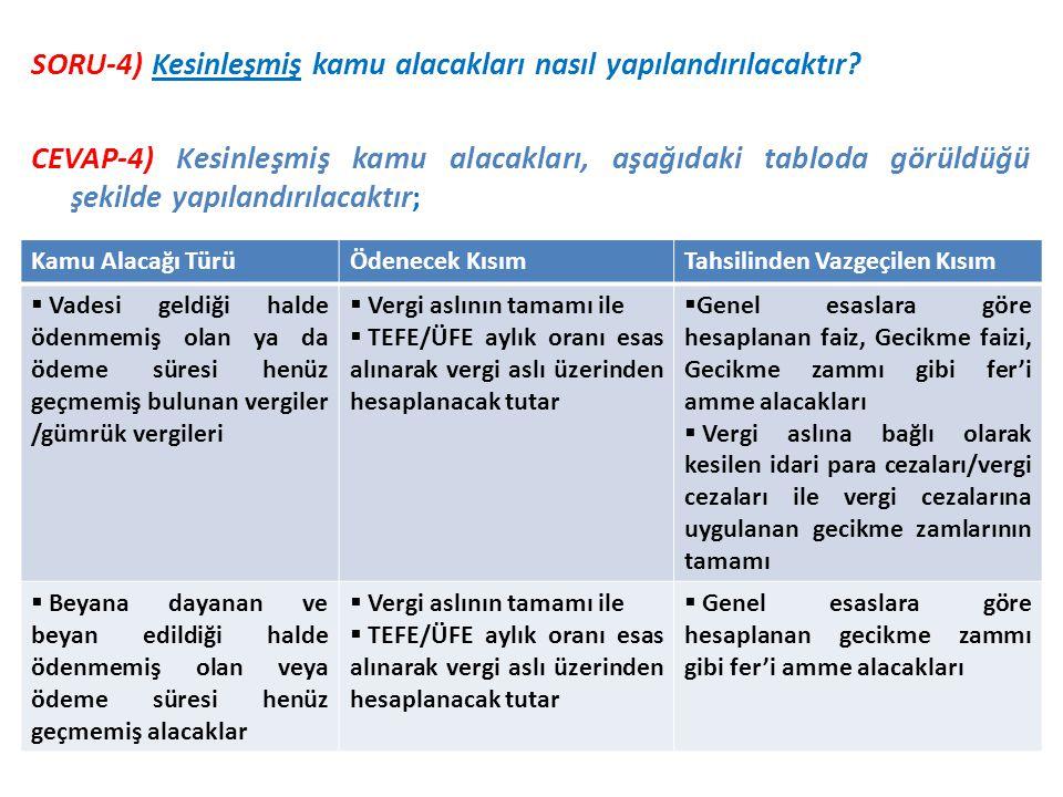 SORU-4) Kesinleşmiş kamu alacakları nasıl yapılandırılacaktır