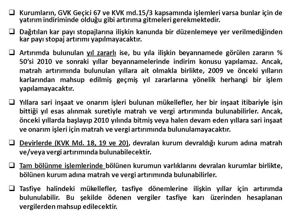 Kurumların, GVK Geçici 67 ve KVK md