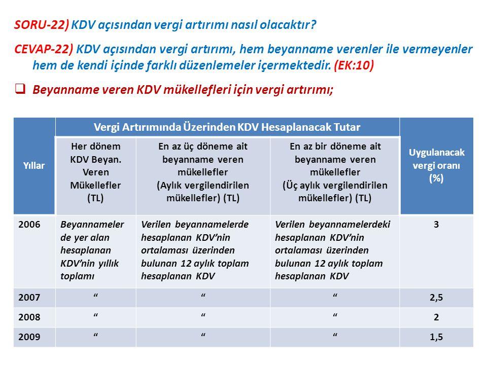 SORU-22) KDV açısından vergi artırımı nasıl olacaktır