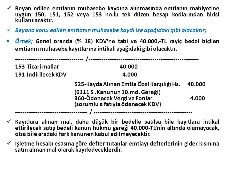 Beyan edilen emtianın muhasebe kaydına alınmasında emtianın mahiyetine uygun 150, 151, 152 veya 153 no.lu tek düzen hesap kodlarından birisi kullanılacaktır.