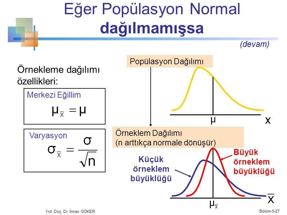 Eğer Popülasyon Normal dağılmamışsa