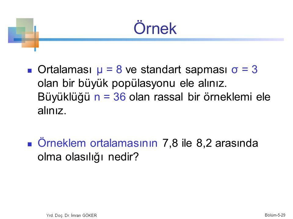 Örnek Ortalaması μ = 8 ve standart sapması σ = 3 olan bir büyük popülasyonu ele alınız. Büyüklüğü n = 36 olan rassal bir örneklemi ele alınız.