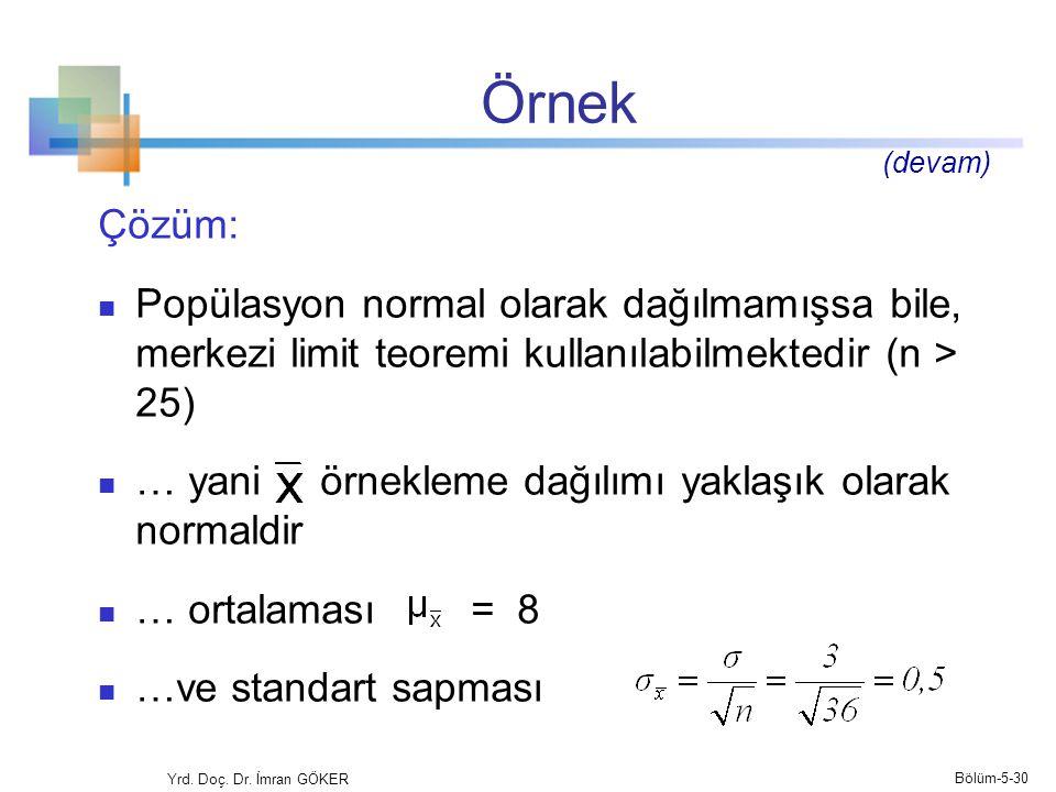 Örnek (devam) Çözüm: Popülasyon normal olarak dağılmamışsa bile, merkezi limit teoremi kullanılabilmektedir (n > 25)