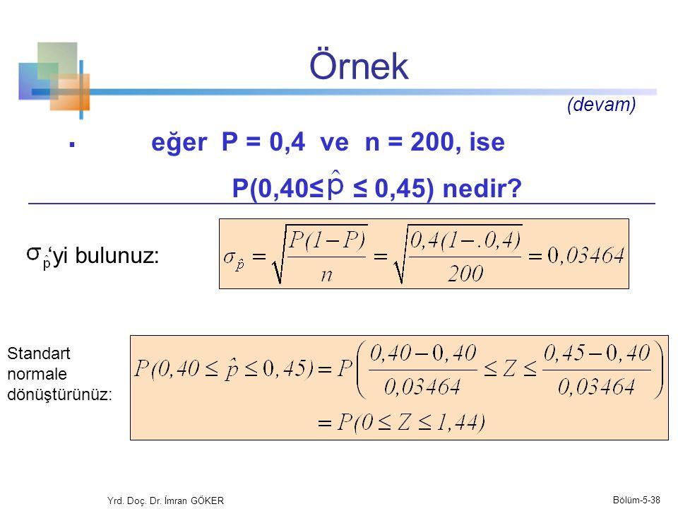 Örnek eğer P = 0,4 ve n = 200, ise P(0,40≤ ≤ 0,45) nedir 'yi bulunuz: