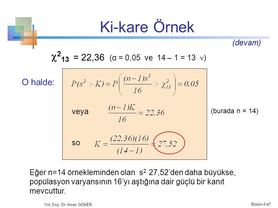 Ki-kare Örnek 213 = 22,36 (α = 0,05 ve 14 – 1 = 13 ν) O halde: