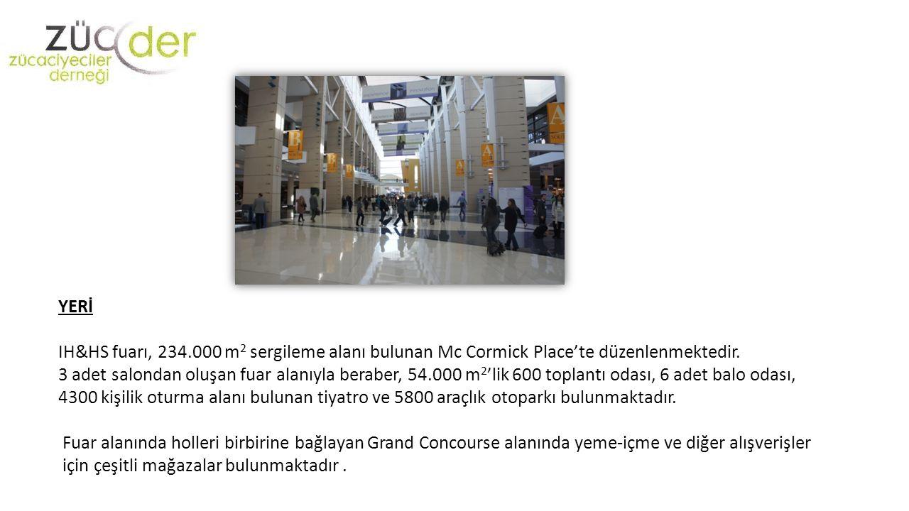 YERİ IH&HS fuarı, 234.000 m2 sergileme alanı bulunan Mc Cormick Place'te düzenlenmektedir.