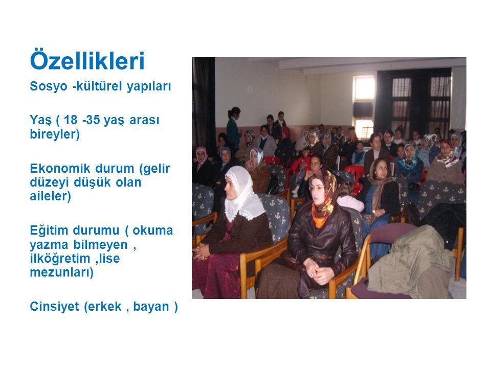Özellikleri Sosyo -kültürel yapıları Yaş ( 18 -35 yaş arası bireyler)