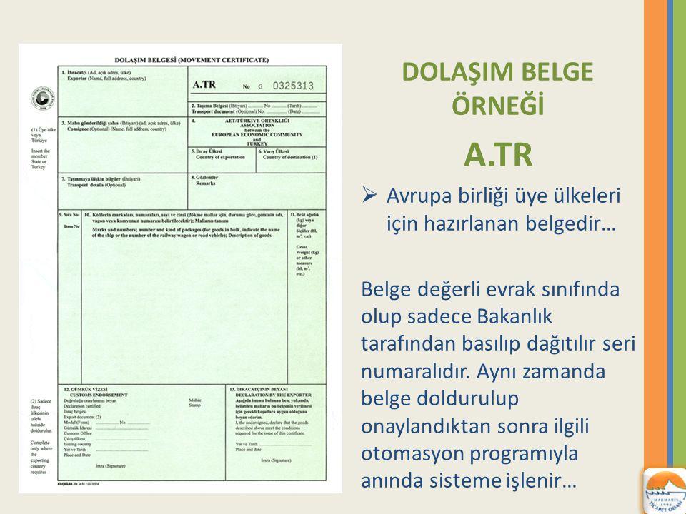 A.TR DOLAŞIM BELGE ÖRNEĞİ
