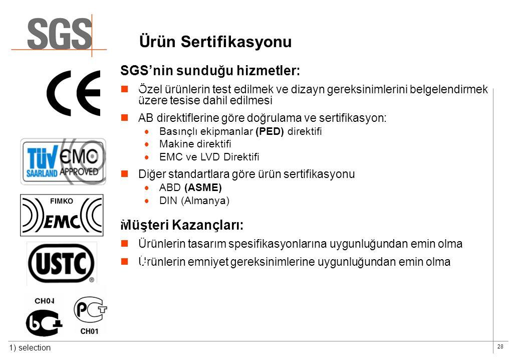 Ürün Sertifikasyonu SGS'nin sunduğu hizmetler: Müşteri Kazançları:
