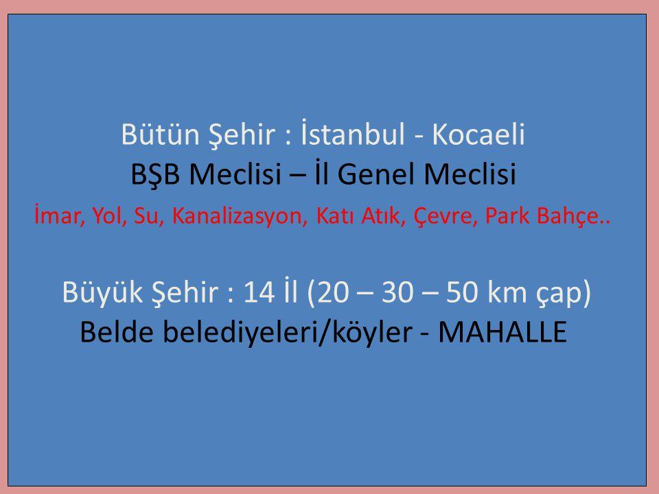 Bütün Şehir : İstanbul - Kocaeli BŞB Meclisi – İl Genel Meclisi