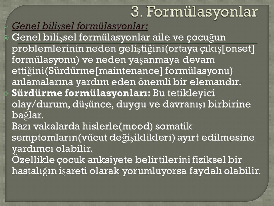 3. Formülasyonlar Genel bilişsel formülasyonlar: