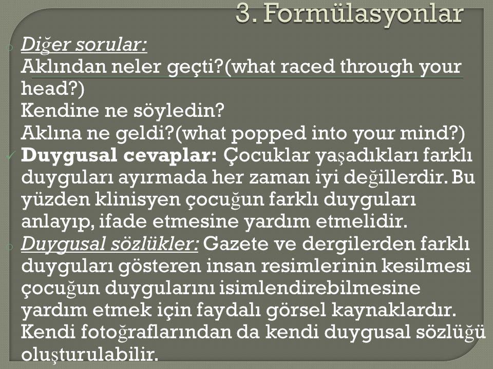 3. Formülasyonlar Diğer sorular: