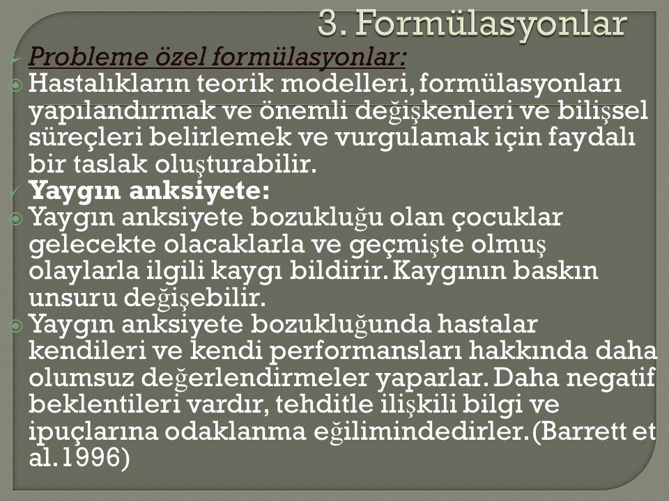3. Formülasyonlar Probleme özel formülasyonlar: