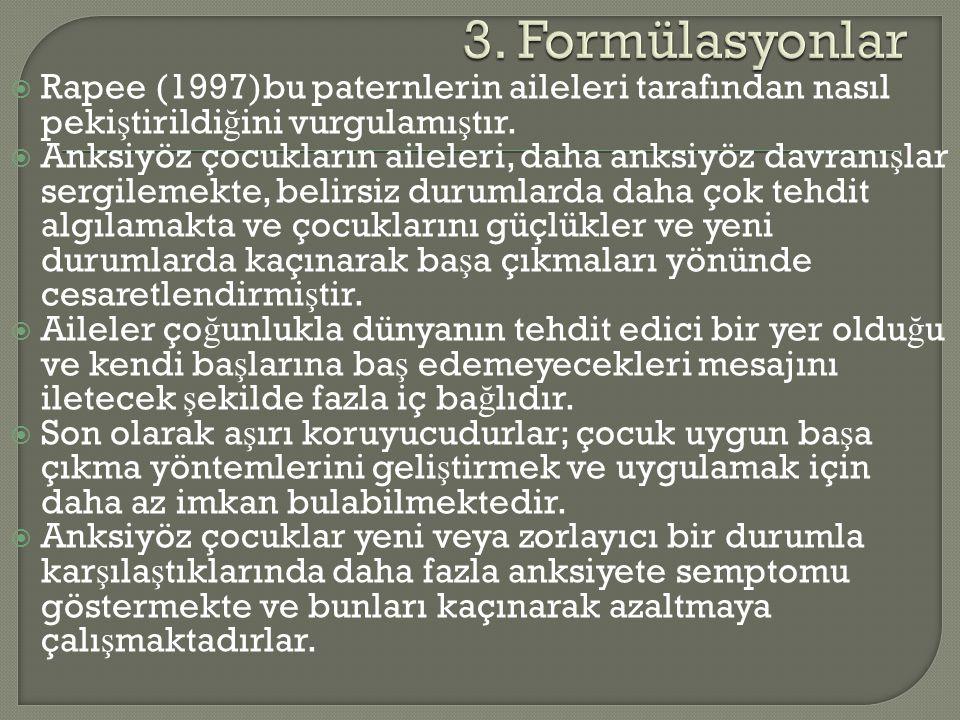 3. Formülasyonlar Rapee (1997)bu paternlerin aileleri tarafından nasıl pekiştirildiğini vurgulamıştır.