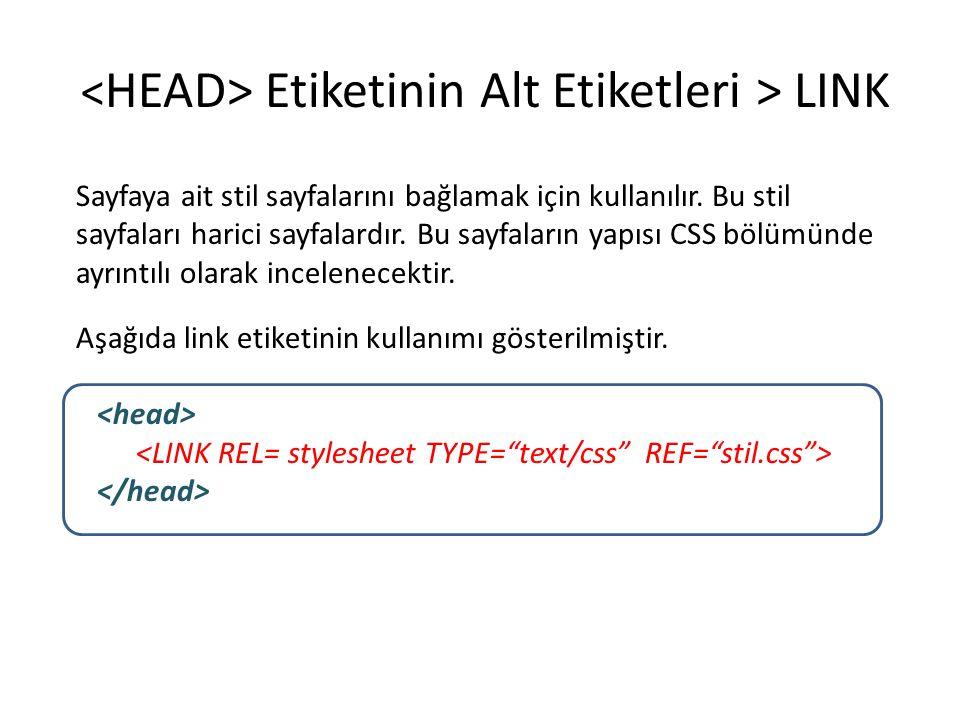 <HEAD> Etiketinin Alt Etiketleri > LINK