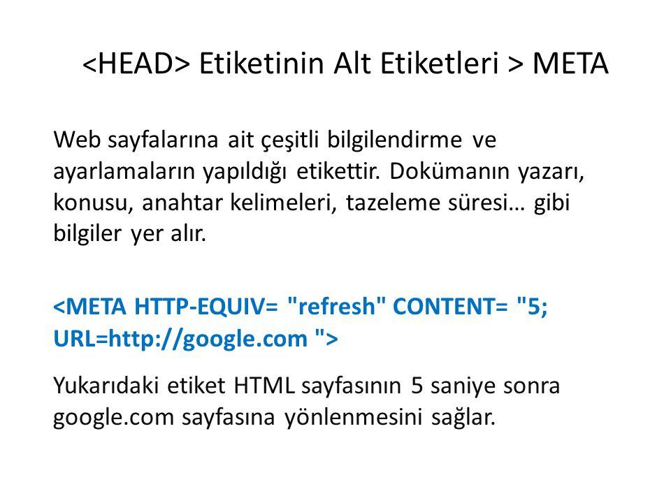 <HEAD> Etiketinin Alt Etiketleri > META