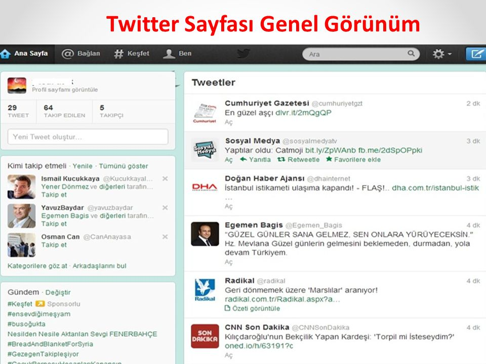 Twitter Sayfası Genel Görünüm