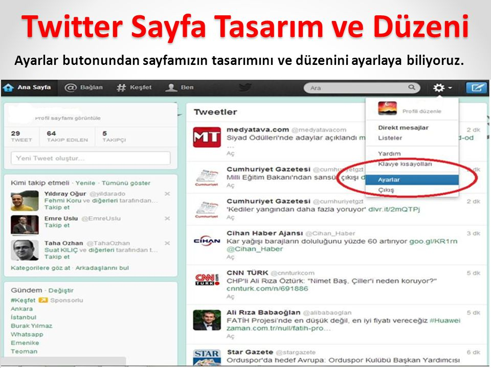 Twitter Sayfa Tasarım ve Düzeni