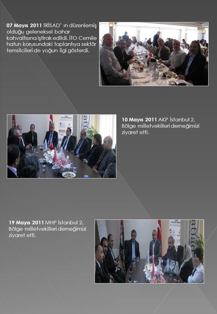 07 Mayıs 2011 TRİSAD' ın düzenlemiş olduğu geleneksel bahar kahvaltısına iştirak edildi. İTO Cemile hatun korusundaki toplantıya sektör temsilcileri de yoğun ilgi gösterdi.