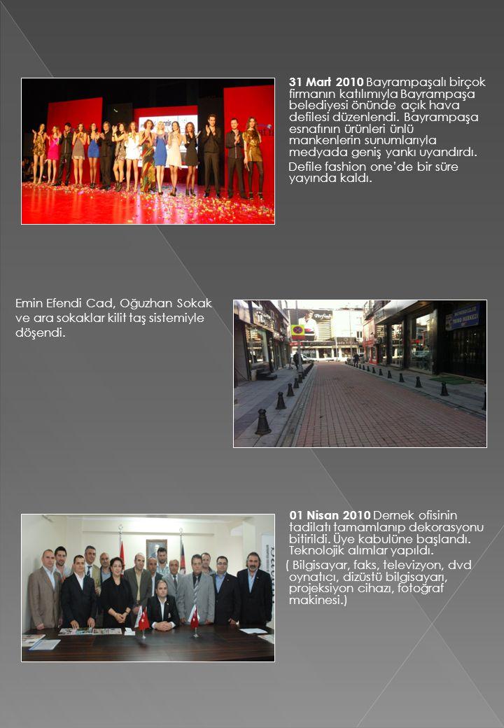 31 Mart 2010 Bayrampaşalı birçok firmanın katılımıyla Bayrampaşa belediyesi önünde açık hava defilesi düzenlendi. Bayrampaşa esnafının ürünleri ünlü mankenlerin sunumlarıyla medyada geniş yankı uyandırdı.