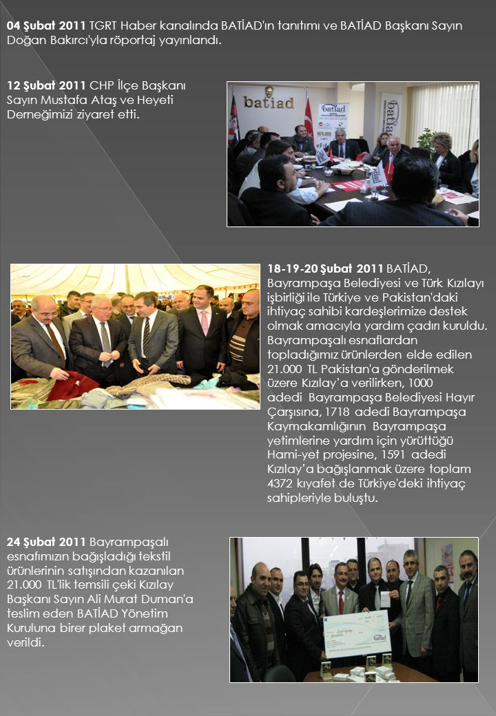04 Şubat 2011 TGRT Haber kanalında BATİAD ın tanıtımı ve BATİAD Başkanı Sayın Doğan Bakırcı yla röportaj yayınlandı.