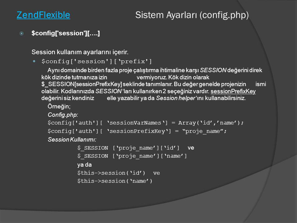 ZendFlexible Sistem Ayarları (config.php)