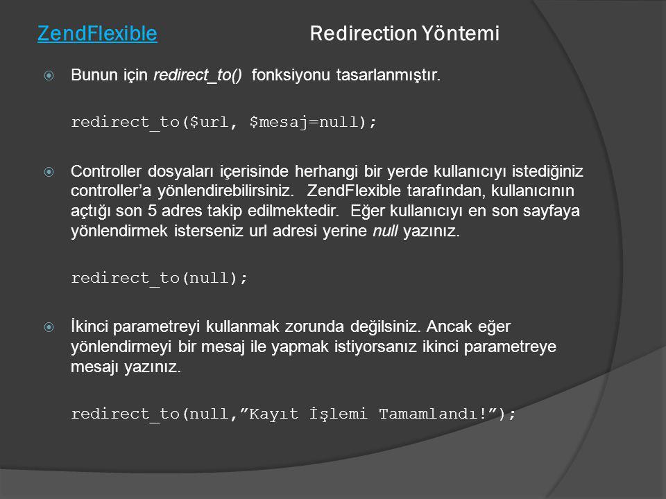 ZendFlexible Redirection Yöntemi
