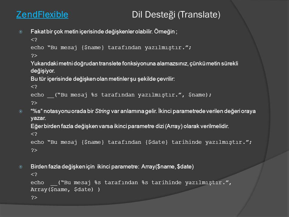 ZendFlexible Dil Desteği (Translate)