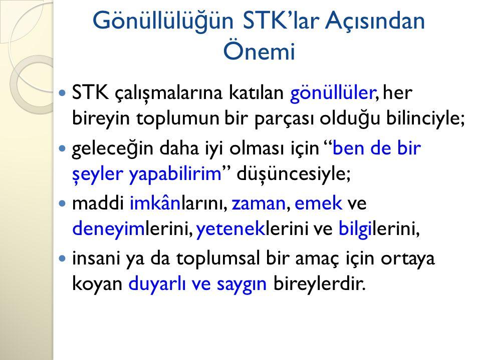Gönüllülüğün STK'lar Açısından Önemi