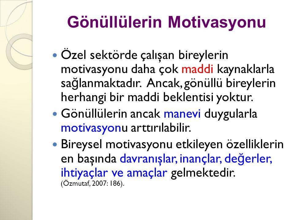 Gönüllülerin Motivasyonu