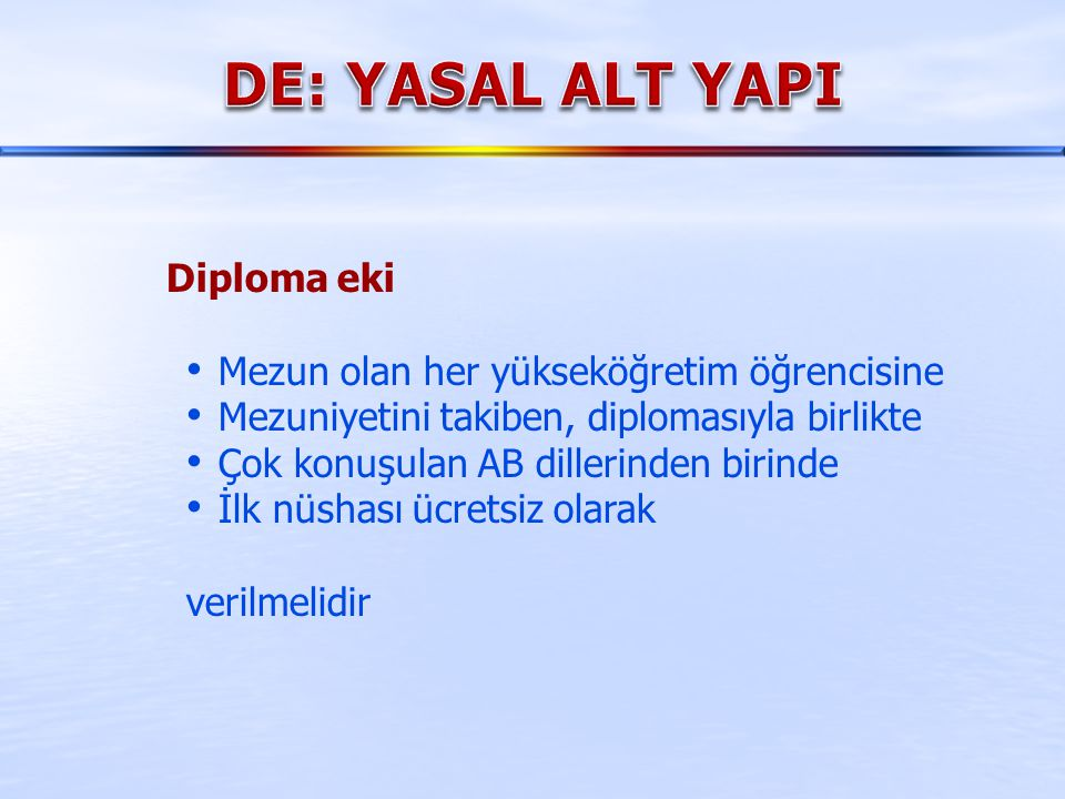 DE: YASAL ALT YAPI Diploma eki