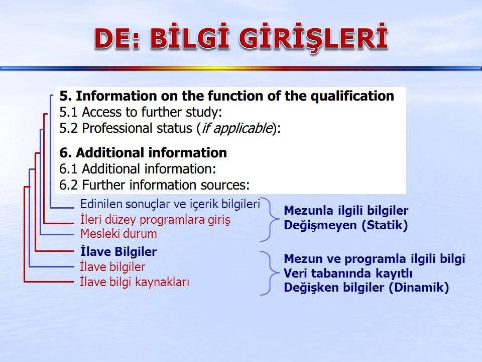 DE: BİLGİ GİRİŞLERİ Edinilen sonuçlar ve içerik bilgileri