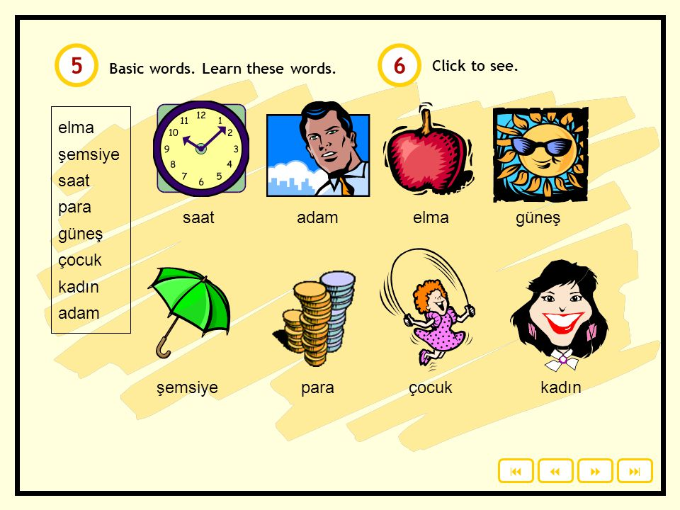 5 6 elma şemsiye saat para güneş çocuk kadın adam saat adam elma güneş