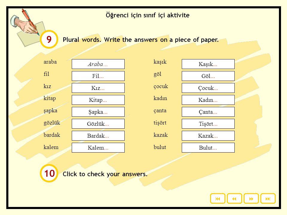 9 10 Öğrenci için sınıf içi aktivite