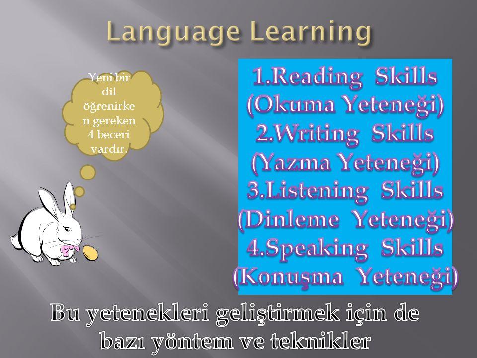 Yeni bir dil öğrenirken gereken 4 beceri vardır.